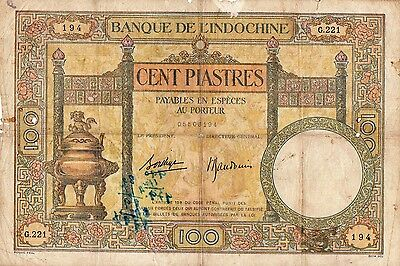 Lot 5  Anciens Billets INDOCHINE VIETNAM Monnaie Grand Billet Cent Piastres
