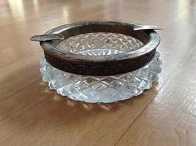Antique ashtray from sterling silver and crystal