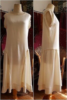 Ivory and pearls 1920s pure silk flapper slip dress wedding gown vintage antique