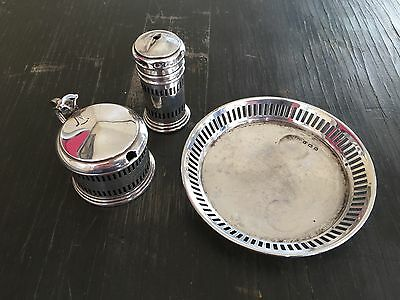 Antique Solid Sterling Silver Cruet Condiment Set Mustard Pot Pepper Pin Dish