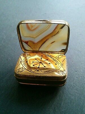 Antique 19th Century Georgian Agate and Gilded Metal Vinaigrette Case Snuff Box