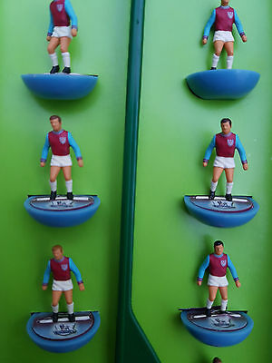 Subbuteo West Ham United team on Top Spin Bases