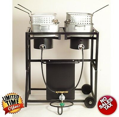 "30"" Propane Gas Two Frying Pans Deep Fryer Cooking Cooker Cart Portable Outdoor"