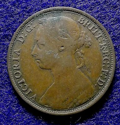 1889 GREAT BRITAIN Penny - Nice Bronze Victoria Coin, KM# 755 (#945)