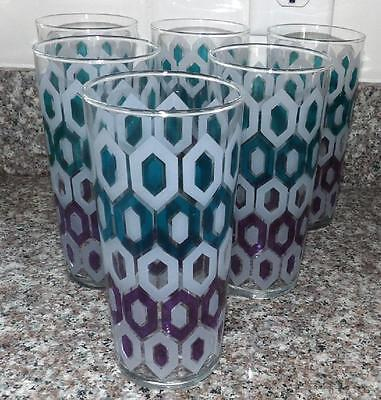 Fab 6 Set Lot Vtg Mid Century Geo Geometric Atomic Drinking Kitchen Glasses
