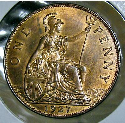 1927 GREAT BRITAIN, ONE PENNY, RED/BR. UNCIRCULATED, KM-826. Nice See! FREE S+H!