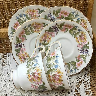 PARAGON BONE CHINA 1950s TRIO CUP SAUCER PLATE SET x2 COUNTRY LANE PINK FLORAL