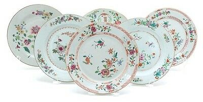 A Set Of Eight Chinese Export Famille Rose Plates Of 18th/19th Century