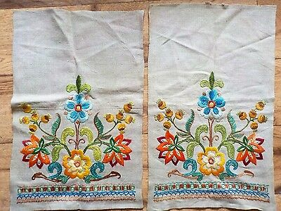 Vintage Hand Embroidered JACOBEAN flowers Linen Chair backs Crewel Work.