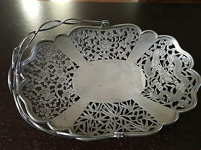Chinese Sterling Silver Basket / Dish Signed
