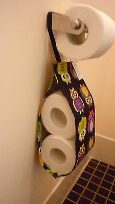 Hanging Double Toilet Roll Storage / Holder, Owls, Handmade, New
