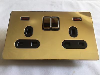 x10 Schneider Ultimate Screwless Switched 2 Gang 13A Socket - Polished Brass
