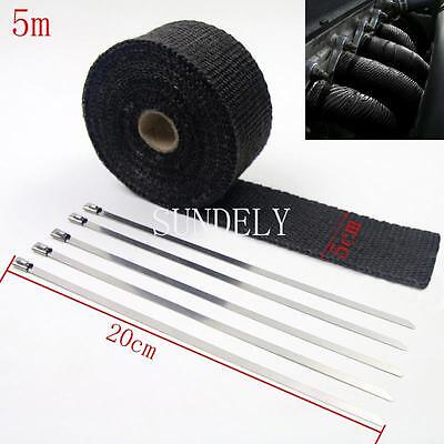 New Black Exhaust Header Heat Pipe Wrap Tape Turbo 5m x 50mm + 5 Ties Motorcycle