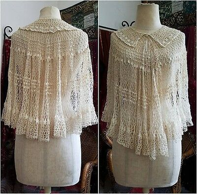 Ivory Wedding Antique crochet capelet shawl cape vintage 1910s 1920s