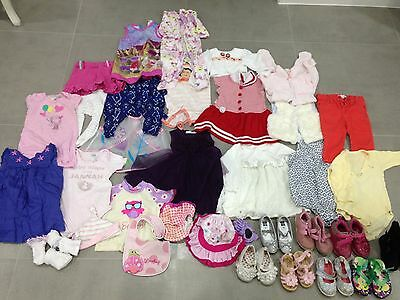 Bulk Lot Baby Girls Clothes & Shoes - Sizes 00, 0 & 1 - 38 Pieces Great Conditio