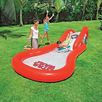 Kids Water Park Slide And Surf Childrens Star Wars  Inflatable Paddling Pool NEW