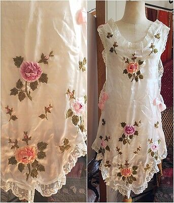 Antique vintage silk ribbon embroidery apron pinafore 1910s 1920 sweet floral