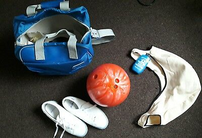 bowling ball and bag and leather shoes, size 6.