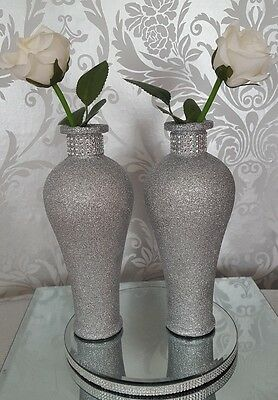 pair of silver glittered bud vase