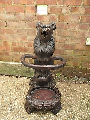 Antique Quality Black Forest Bear Cub Stick Stand Swiss Wood Carving Carved