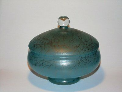 Vintage Covered Candy Dish Turquoise Blue Satin Glass w/ Gold Drizzle