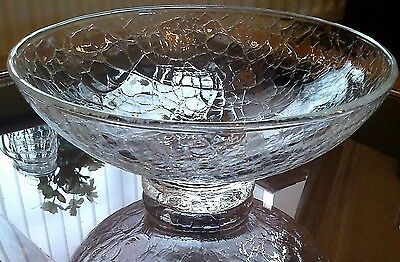 "BLENKO? SUPERB 8.75"" 900g W VINTAGE HAND MADE CLEAR CRACKLE-GLASS ART GLASS BOWL"