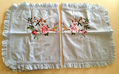 Vintage Blue Bird Flowers Cotton Embroidered Pillow Cases Pillowcases UNUSED
