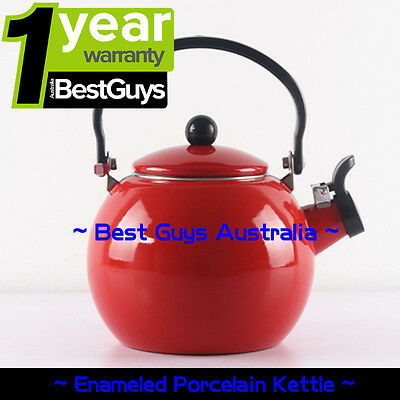ENAMEL Stainless Steel WHISTLING Kettle 2.0L Electric Gas HOBS Stove Top RED