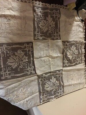 Antique Table cloth square 35x35 lace and linen