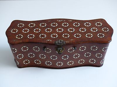 Antique 19th Century French Kingwood Inlaid Parquetry Table Box / Casket
