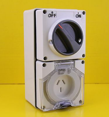Clipsal 56C320F Switched Socket Outlet Single Phase 3 pin 20A 250V IP66