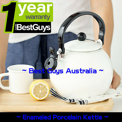 ENAMEL Stainless Steel WHISTLING Kettle 2.0L Electric Gas HOBS Stove Top WHITE