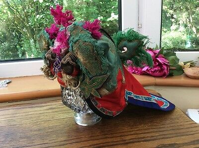 Rare Antique Chinese Childrens Festival Embroidered Silk Headdress Dragons Head