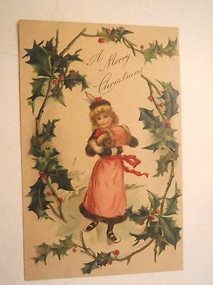 Antique Vintage 1907 Embossed Christmas Greeting Postcard Skating Girl and Holly