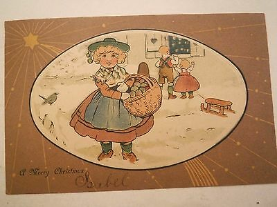 Antique Vintage Christmas Greeting Postcard Little Girl and Children 1907 Posted