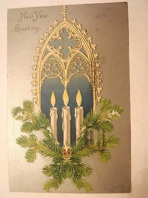 Antique Vintage 1906 Embossed Happy New Year Greeting Postcard Branches Candles