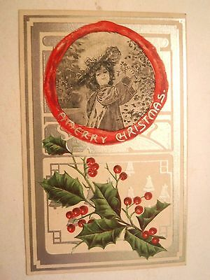 Antique Vintage Embossed Christmas Greeting Postcard Girl and Holly Early 1900's