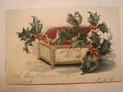 Antique 1907 Tuck Cards Christmas Music Box Birds and Holly Embossed Postcard
