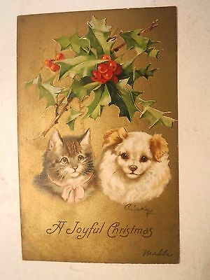 Antique 1908 Embossed Christmas Greeting Postcard Kitten Puppy and Holly Posted