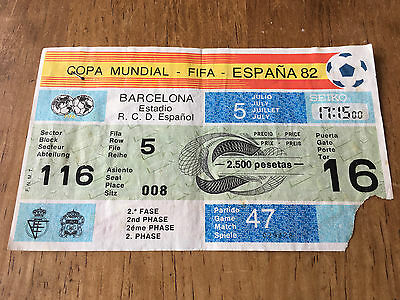 Entrada Ticket World Cup Spain 1982 Italy Brazil Brasil Match Game 47 Wc82