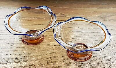 Pair of Victorian Trailed Glass Salts / Salt Dishes