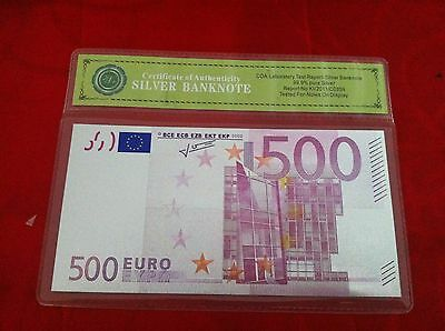500 Euro Banknote Colour Silver Limited Edition 3D Bank Note  Colorised Silver