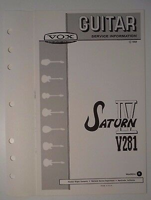 Original 1969 VOX Guitar - Saturn IV V281  Service Information