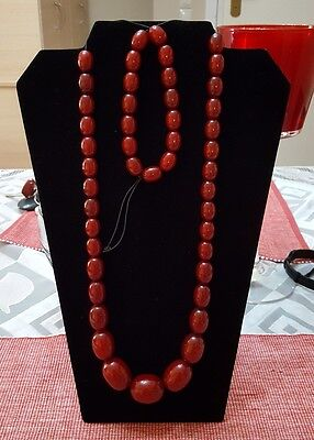 "ANTIQUE CHERRY AMBER BAKELITE FATURAN  BEADS - 106 grams & 31.4""inches"