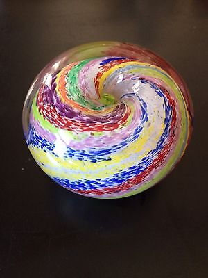 Hand Blown Glass Paperweight Signed