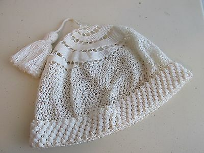Vintage Hand Crocheted Off White Baby Bonnet Beanie with Tassel