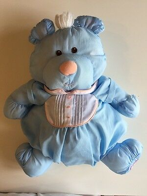 "Vintage Fisher Price Puffalump 1986 Blue Bear with Outfit 17"" Plush Stuffed Soft"