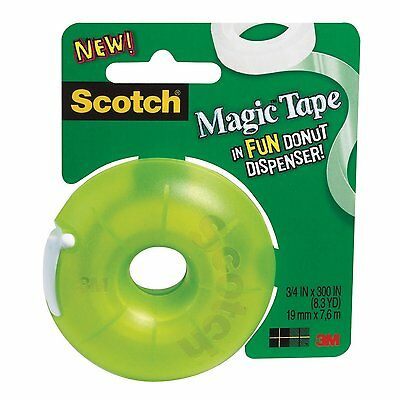 """Scotch Magic Tape with Donut Dispenser, 300"""" Length x 3/4"""" Width Pack of 2"""
