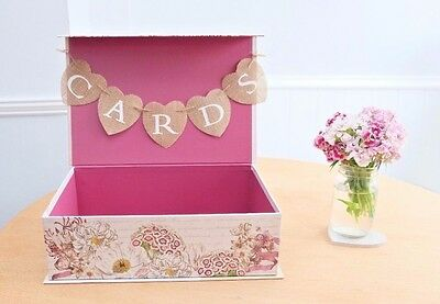 One Off Shabby Chic Rustic Paris Vintage Wedding Suitcase Cards Box Bunting