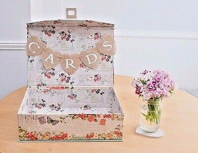 One Off Shabby Chic Rustic Floral Vintage Wedding Suitcase Cards Box Bunting